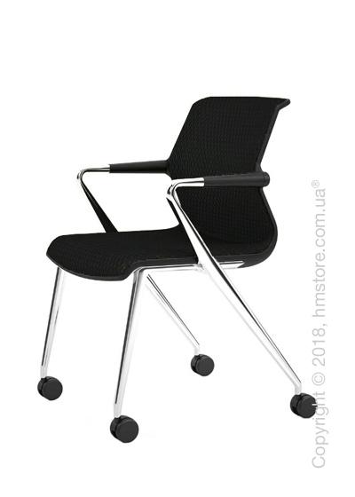 Кресло Vitra Unix Chair four-legged base with castors dark frame, Diamond Mesh Nero