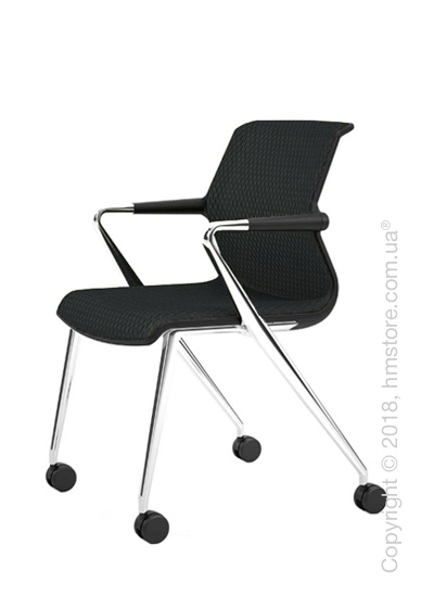 Кресло Vitra Unix Chair four-legged base with castors dark frame, Diamond Mesh Asphalt