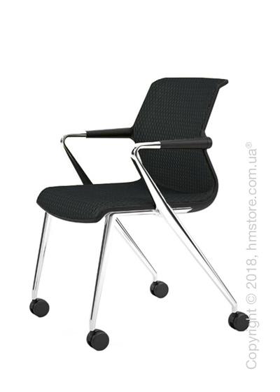 Кресло Vitra Unix Chair four-legged base with castors dark frame, Diamond Mesh Asphalt