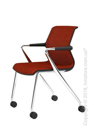 Кресло Vitra Unix Chair four-legged base with castors dark frame, Diamond Mesh Brick