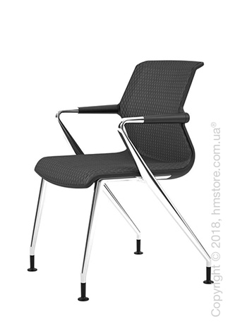 Кресло Vitra Unix Chair four-legged base with glides dark frame, Diamond Mesh Asphalt