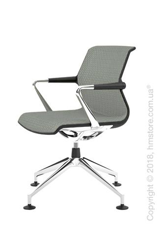 Кресло Vitra Unix Chair four-star base dark frame, Diamond Mesh Ice Grey