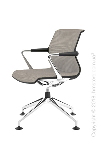 Кресло Vitra Unix Chair four-star base dark frame, Diamond Mesh Soft Grey