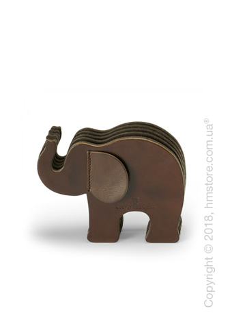Подставка для ручек Graf von Faber-Castell, Elephant Made From Natural Leather, Dark Brown Medium
