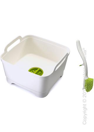 Емкость для мытья посуды с щеткой Joseph Joseph Wash & Drain, Green and White
