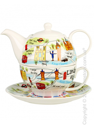 Набор чайник заварочный с чашкой Churchill  London Maps tea For One, 2 предмета