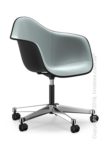 Кресло Vitra Eames Plastic Armchair PACC with full upholstery, Basic Dark shell, Ice Blue Ivory