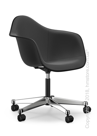 Кресло Vitra Eames Plastic Armchair PACC with full upholstery, Basic Dark shell, Dark Grey