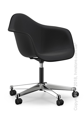 Кресло Vitra Eames Plastic Armchair PACC with full upholstery, Basic Dark shell, Nero