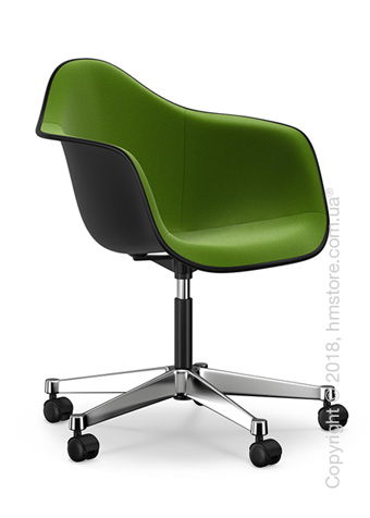 Кресло Vitra Eames Plastic Armchair PACC with full upholstery, Basic Dark shell, Grass Green Forest