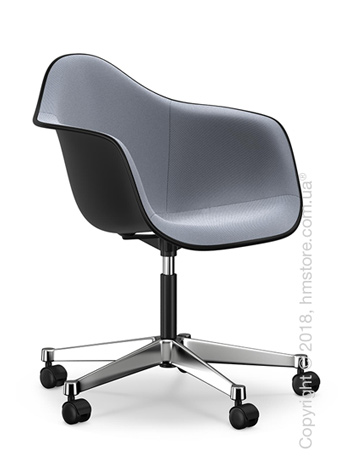 Кресло Vitra Eames Plastic Armchair PACC with full upholstery, Basic Dark shell, Dark Blue Ivory