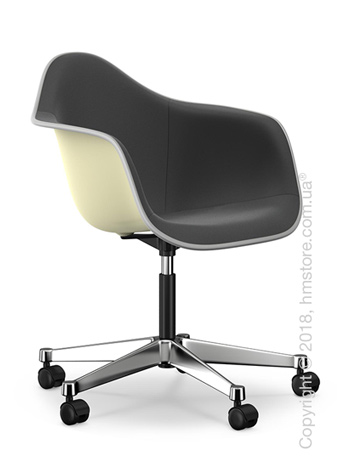 Кресло Vitra Eames Plastic Armchair PACC with full upholstery, Cream shell, Dark Grey