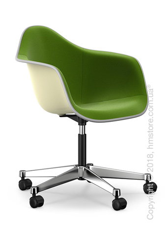 Кресло Vitra Eames Plastic Armchair PACC with full upholstery, Cream shell, Grass Green Forest