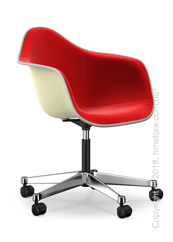 Кресло Vitra Eames Plastic Armchair PACC with full upholstery, Cream shell, Red Poppy Red