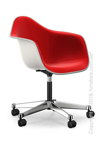 Кресло Vitra Eames Plastic Armchair PACC with full upholstery, White shell, Red Poppy Red