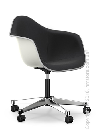 Кресло Vitra Eames Plastic Armchair PACC with full upholstery, White shell, Nero