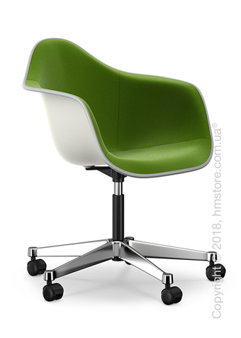 Кресло Vitra Eames Plastic Armchair PACC with full upholstery, White shell, Grass Green Forest
