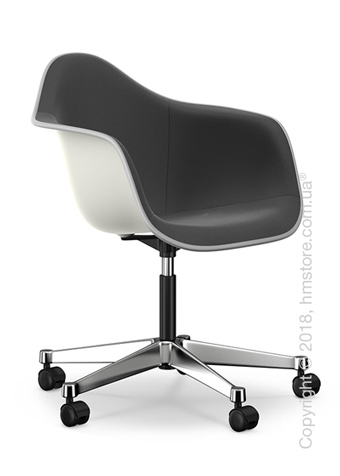 Кресло Vitra Eames Plastic Armchair PACC with full upholstery, White shell, Dark Grey