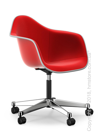 Кресло Vitra Eames Plastic Armchair PACC with full upholstery, Classic Red shell, Red Poppy Red