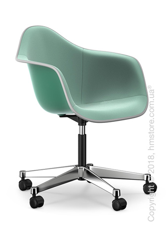 Кресло Vitra Eames Plastic Armchair PACC with full upholstery, Ocean shell, Mint Ivory