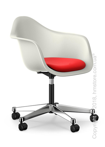 Кресло Vitra Eames Plastic Armchair PACC with seat upholstery, White shell, Red Poppy Red