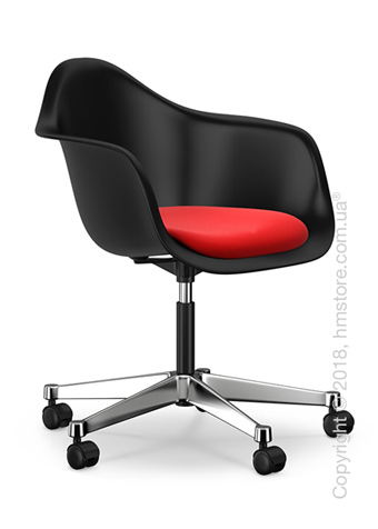 Кресло Vitra Eames Plastic Armchair PACC with seat upholstery, Basic Dark shell, Red Poppy Red