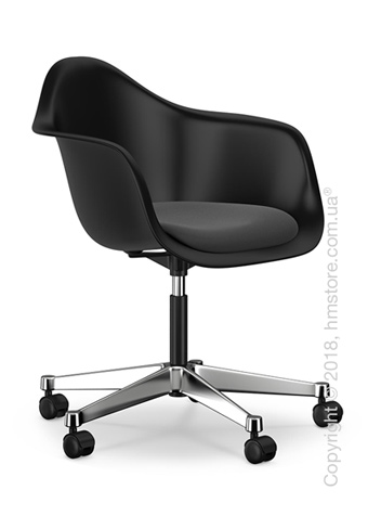 Кресло Vitra Eames Plastic Armchair PACC with seat upholstery, Basic Dark shell, Dark Grey