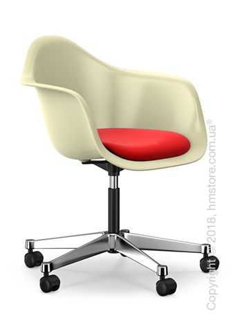 Кресло Vitra Eames Plastic Armchair PACC with seat upholstery, Cream shell, Red Poppy Red