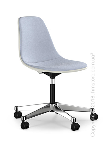 Кресло Vitra Eames Plastic Side Chair PSCC with full upholstery, White shell and Dark Blue Ivory