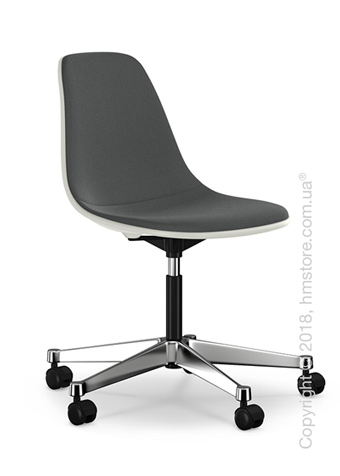 Кресло Vitra Eames Plastic Side Chair PSCC with full upholstery, White shell and Dark Grey