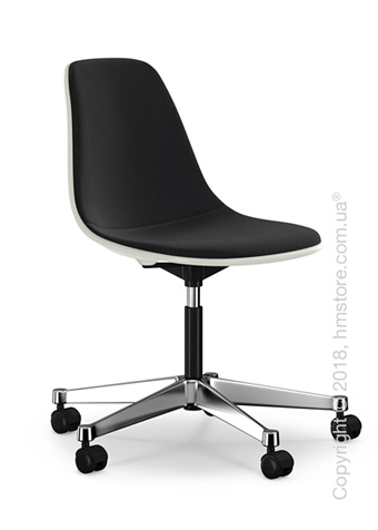 Кресло Vitra Eames Plastic Side Chair PSCC with full upholstery, White shell and Nero