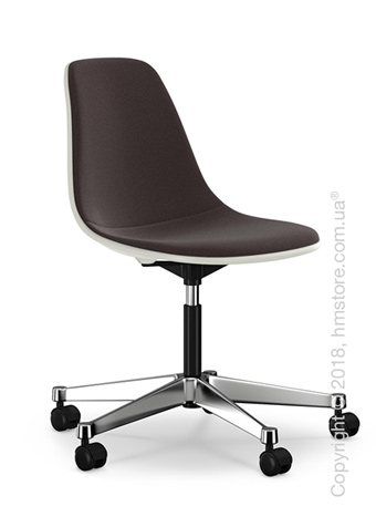 Кресло Vitra Eames Plastic Side Chair PSCC with full upholstery, White shell and Nero Moor Brown