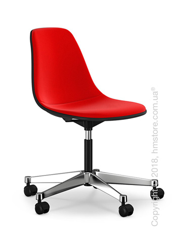 Кресло Vitra Eames Plastic Side Chair PSCC with full upholstery, Basic Dark shell and Red Poppy Red