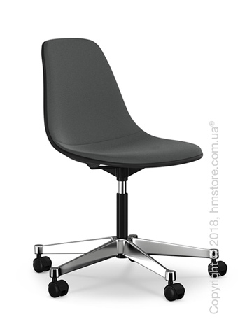 Кресло Vitra Eames Plastic Side Chair PSCC with full upholstery, Basic Dark shell and Dark Grey