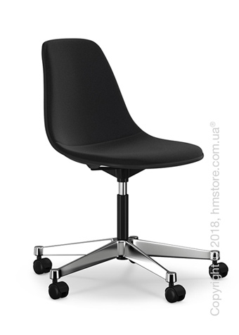 Кресло Vitra Eames Plastic Side Chair PSCC with full upholstery, Basic Dark shell and Nero