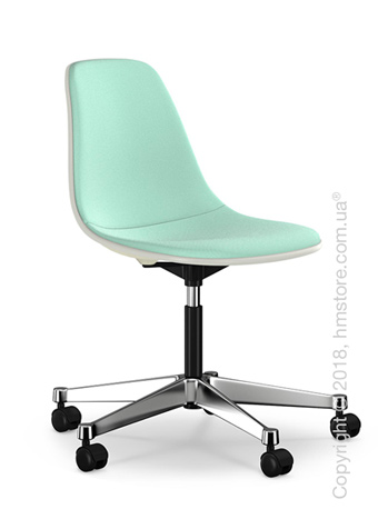 Кресло Vitra Eames Plastic Side Chair PSCC with full upholstery, Cream shell and Mint Ivory