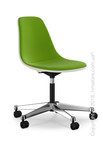 Кресло Vitra Eames Plastic Side Chair PSCC with full upholstery, Cream shell and Grass Green Forest