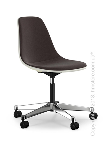 Кресло Vitra Eames Plastic Side Chair PSCC with full upholstery, Cream shell and Nero Moor Brown