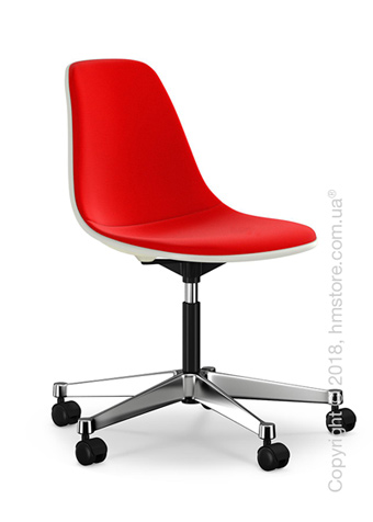 Кресло Vitra Eames Plastic Side Chair PSCC with full upholstery, Cream shell and Red Poppy Red