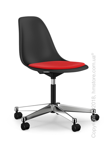 Кресло Vitra Eames Plastic Side Chair PSCC with seat upholstery, Basic Dark shell and Red Poppy Red