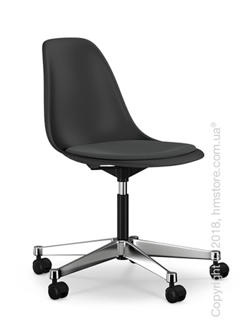 Кресло Vitra Eames Plastic Side Chair PSCC with seat upholstery, Basic Dark shell and Dark Grey