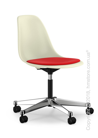 Кресло Vitra Eames Plastic Side Chair PSCC with seat upholstery, Cream shell and Red Poppy Red