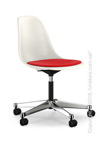 Кресло Vitra Eames Plastic Side Chair PSCC with seat upholstery, White shell and Red Poppy Red
