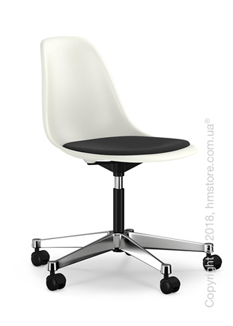 Кресло Vitra Eames Plastic Side Chair PSCC with seat upholstery, White shell and Nero