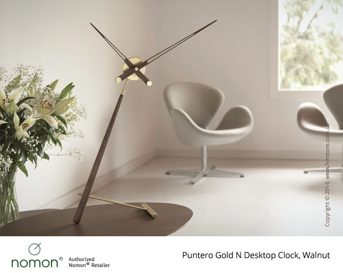 Часы настольные Nomon Puntero Gold N Desktop Clock, Walnut